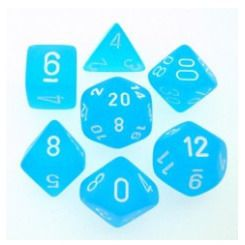 Frosted Caribbean Blue and White Polyhedral Die Set