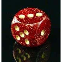Ruby with Gold Glitter Polyhedral Die Set