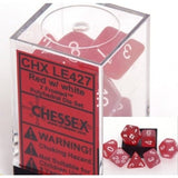 Red with White Frosted Polyhedral Die Set