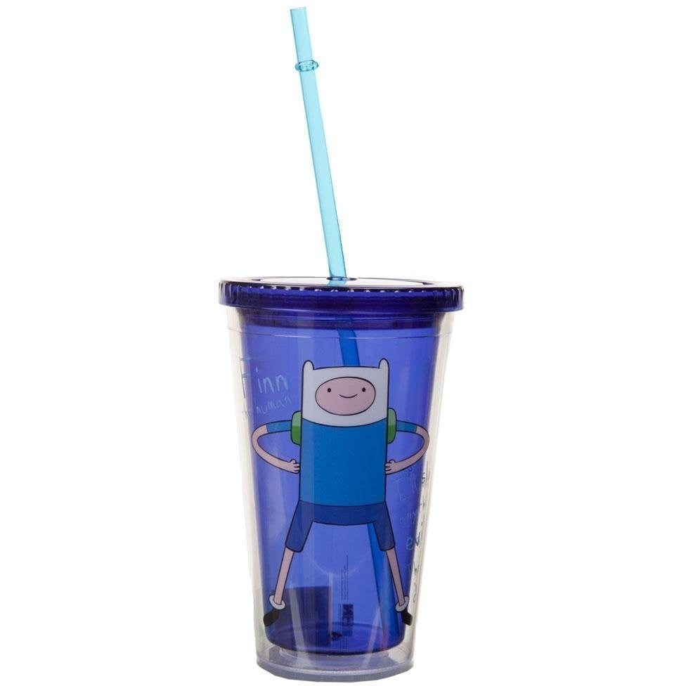 Adventure Time Finn Plastic Travel Cup with Straw
