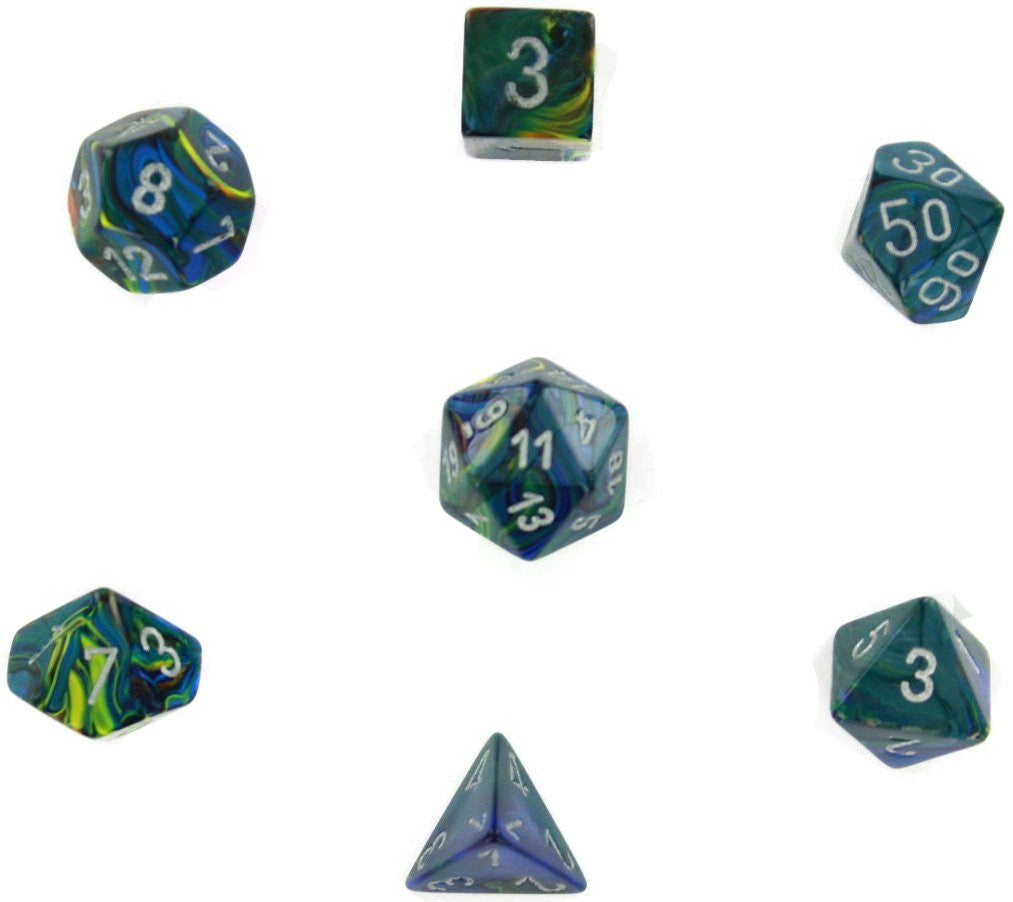 Green with Silver Festive Polyhedral 7 Die Set