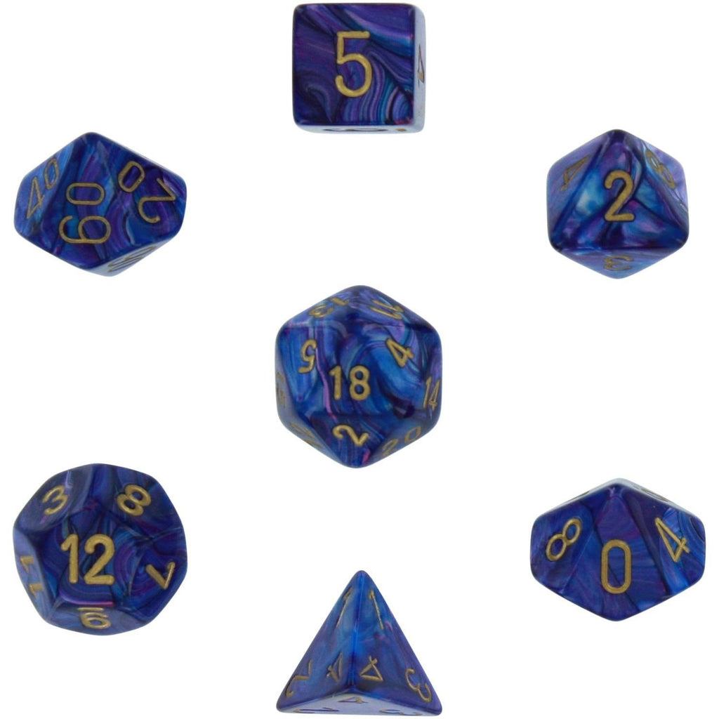 Purple with Gold Lustrous Polyhedral 7 Die Set