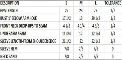 Women's 3/4 Sleeve Sizing Chart
