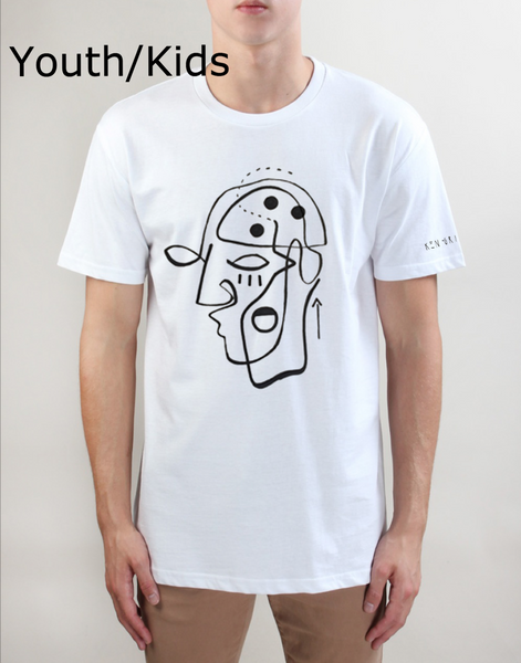 Youth/Kids White T Shirt - Ken Griffen. Limited Edition. Minds for Minds  - 1