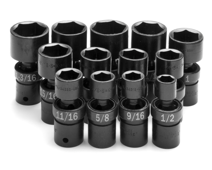 SK HAND TOOL 13 Piece 6 Point SwivelFractional Impact Socket Set SK34300
