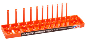 "HANSEN GLOBAL  INC. 1/4"" Dr. Orange SAE Deep& Regular Socket Holders HR1405"