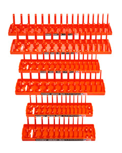 HANSEN GLOBAL  INC. Six Piece Orange Socket TraySet Deep & Regular SAE/Metric HR92002
