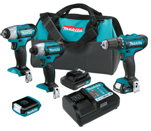 MAKITA 12V Max CXT Lithium-Ion Cordless 4-Pc. Combo Kit MKCT410