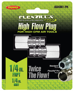 "LEGACY High Flow Plug 1/4"" Body 1/4""FNPT 2-Pack Flexzilla?? Pro MTA53430FZ-2PK - Direct Tool Source"