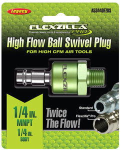 "LEGACY High Flow Ball Swivel Plug1/4"" Body 1/4"" MNPT Flexzilla?? MTA53440FZBS"