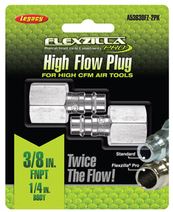 "LEGACY High Flow Plug 1/4"" Body 3/8""FNPT 2-Pack Flexzilla?? Pro MTA53630FZ-2PK - Direct Tool Source"
