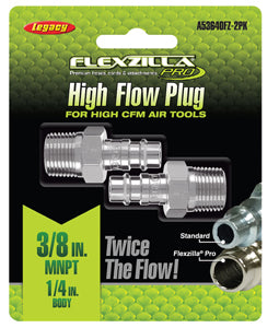 "LEGACY High Flow Plug 1/4"" Body 3/8""MNPT 2-Pack Flexzilla?? Pro MTA53640FZ-2PK - Direct Tool Source"