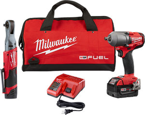 "MILWAUKEE M12 FUEL 3/8"" Ratchet + 1/2"" FUEL Midtorque Impact Wrench MWK2591-22 - Direct Tool Source"
