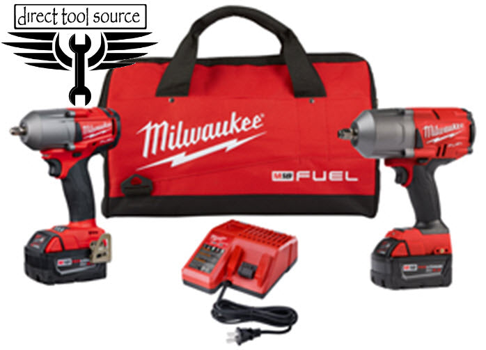 "MILWAUKEE M18 High Torque 1/2"" and 3/8"" Impact Kits 2993-22 - Direct Tool Source"