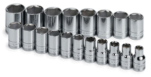 "SK HAND TOOL 19 Piece 6 Point StandardSocket Set 1/2"" Drive SK1959"