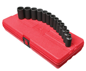 "SUNEX TOOL 3/8"" Dr. 13pc 12pt MetricSemi-Deep Impact Socket Set SU3338 - Direct Tool Source"