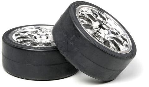 Tamiya Metal Plated Mesh Wheels w/Drift Tires Type D
