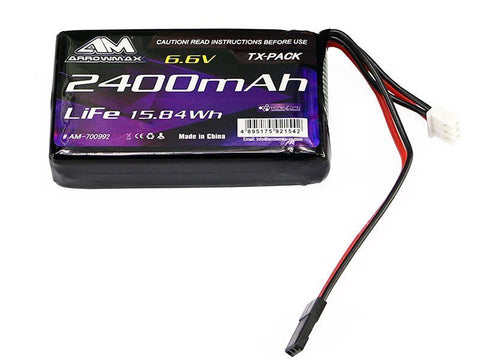 NEW! Arrowmax LiPo 2400mAh 6.6V for Futaba 7PX, 4PX, 4PV, and 4PK