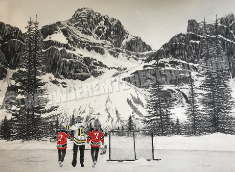 "FAMILY ""Hockey Mountain Memories"" PERSONALIZED Hockey Artwork"