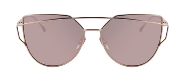 Queen Sunnies Vanity Cat Eye Aviator Rose Gold Sunglasses Shades Eyewear