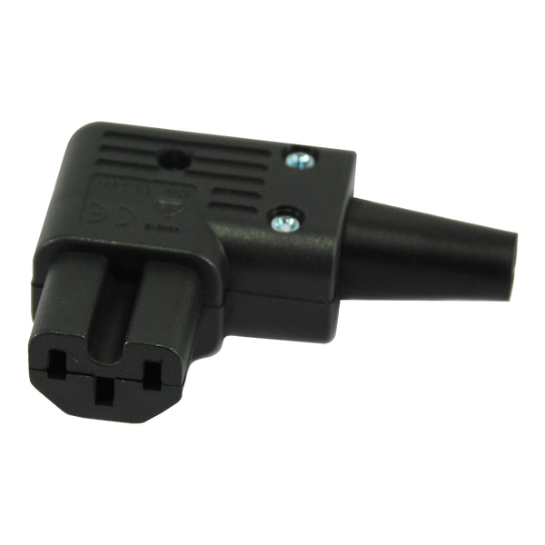 Power Plug - Female - IEC C15 Horizontal Right Angle - Hot Conditioned - Plastic - Black