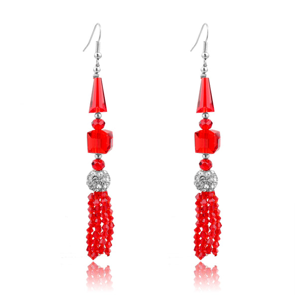 Red crystal tassels dangle