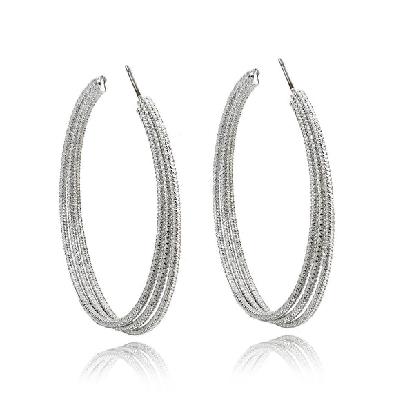 Silver Tri-Hoop Earrings | VaVaVoo Jewelry