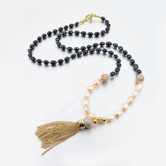 Pink Pearl Tassel Necklace | VaVaVoo Jewelry