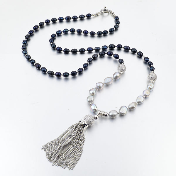 Silver Freshwater Pearl Tassel Necklace