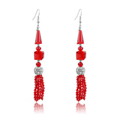 Ruby Red Deco Tassle Earrings | VaVaVoo Jewelry