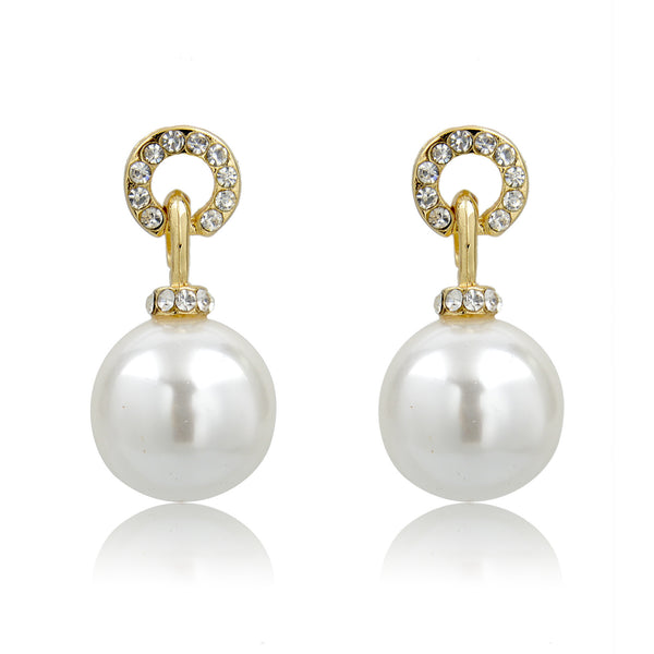 Gold Pearl Drop Earrings | VaVaVoo Jewelry