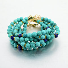 Turquoise and Lapis Beaded Bracelet | VaVaVoo Jewelry