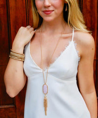 Pamela 12k Gold Tassel Necklace with Pale Pink Pendant