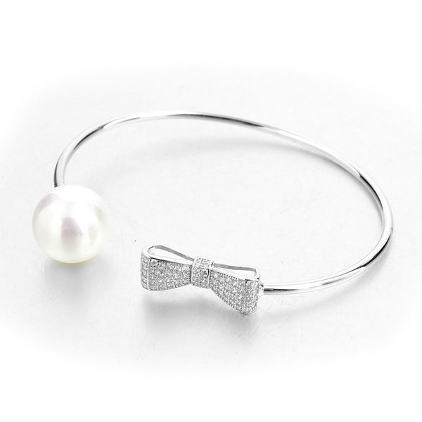 Sterling Silver Pearl and Bow Cuff | VaVaVoo