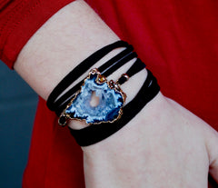 Black Suede Druzy Wrap Bracelet and Necklace with Gold Caps