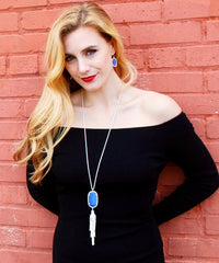Pamela Silver Tassel Necklace with Bright Blue Pendant