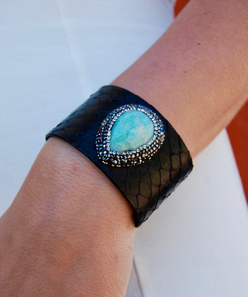 Black Snakeskin Cuff with Pave Framed Turquoise Stone