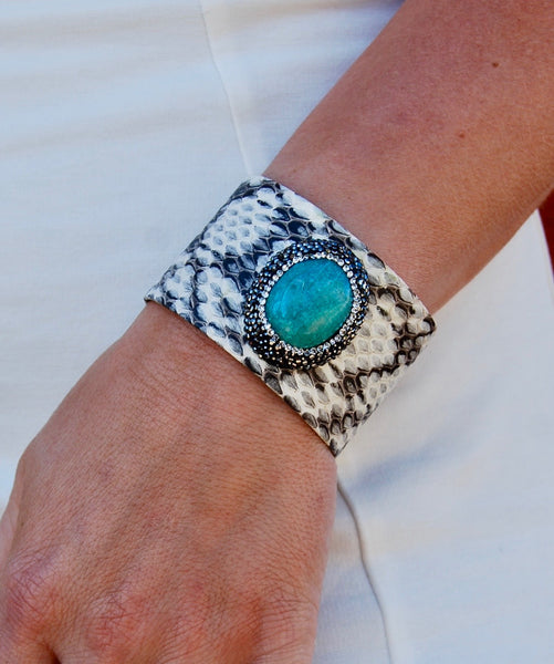 White and Gray Snakeskin Cuff with Pave Framed Turquoise Stone