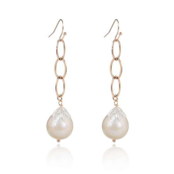 Bella Baroque Pearl & Gold Chain Earrings