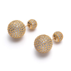 Gold Disco Ball Front-Back Earrings | VaVaVoo Jewelry