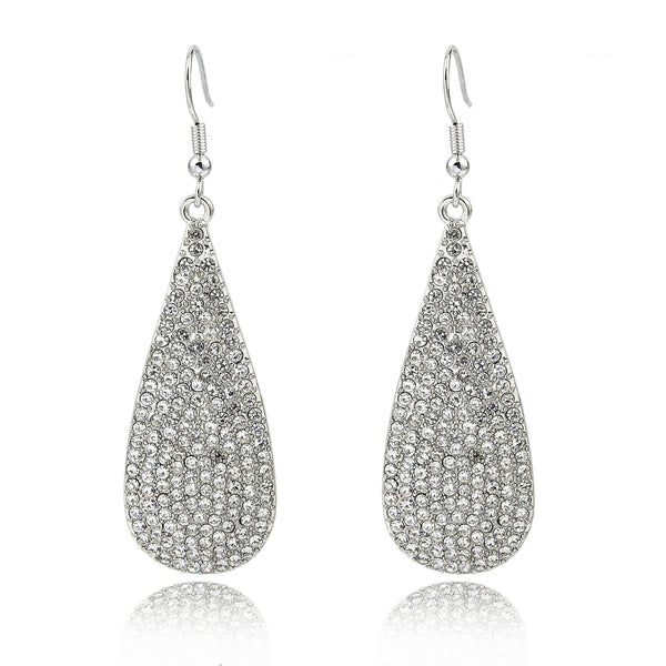 Silver Teardrop Pavé Earrings | VaVaVoo Jewelry