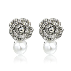 White Pearl and Crystal Flower Earrings | VaVaVoo