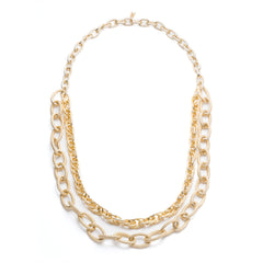 Gold Layered Tri Chain Necklace