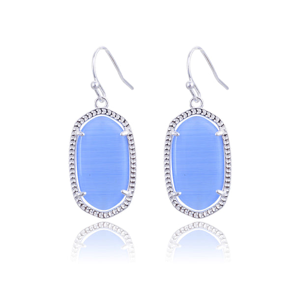 Small Silver Pamela Earrings in Blue Cat's Eye