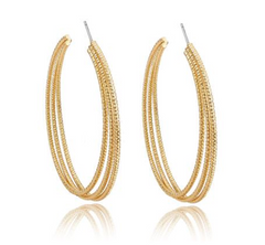 Gold Tri-chain Necklace, Tri-Hoop Earrings and Bracelet Set