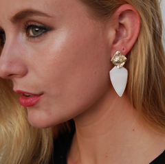 Mother of Pearl and 12K Gold Texture Stud Earrings