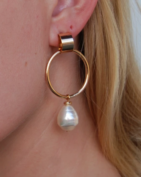 Baroque Pearl Drop 12K Gold Hoop Earrings