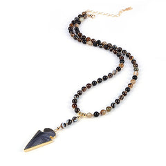 Banded Black Agate Arrow Pendant and Mixed Gemstone Necklace