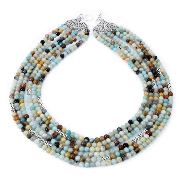 Amazonite Stone and Silver Necklace