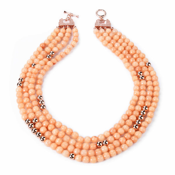 Apricot Jade and Rose Gold Beaded Necklace